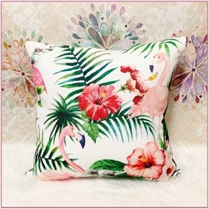 Other - Flamingo | Palm  & Hibiscus Printed Outdoor Pillow
